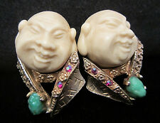 "Rare Vtg 1-1/2"" Signed HAR Jeweled Happy Buddha Asian Coolie Clip Earrings A50"