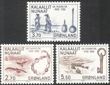 Greenland 1984 Whales/Ship/Spoons/Key/Buildings/Trading Goods 3v set (n20237a)