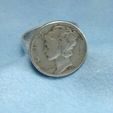 COIN JEWELRY~US Liberty Mercury dime silver ADJUSTABLE RING NEW
