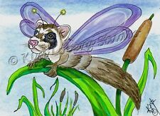 Ferret Dragon Fly ACEO EBSQ Kim Loberg Fantasy Insect Mini bug Art cattail Pond