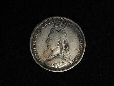1889 Great Britain 3 Pence - Silver - Victoria