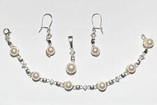 Silber 925 Silberschmuck Set mit Perlen und Zirkonia !! UNIKAT !! - Sehr Edel !!