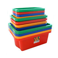 4 Pack - Plastic Storage Boxes Tubs Stackable Bins Containers Household Crafts