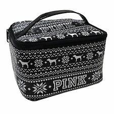 NWT VICTORIA'S SECRET PINK NORDIC BLACK TRAVEL MAKEUP BAG CASE TOILETRIES BAG