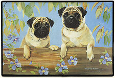 "DOOR MATS - PUGS IN THE GARDEN DOORMAT - 27"" x 18"" - RUBBER BACKED DOOR MAT"