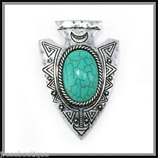 #JRJ106 TURQUOISE necklace INDIAN ARROWHEAD ARROW HEAD AZTEC pendant SCARF CHARM