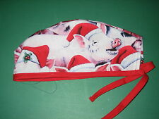 Surgical Scrub Hats caps Christmas Pink Pigs in Santa Hats