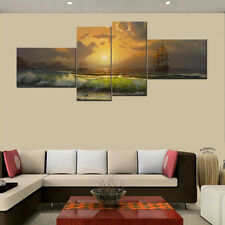Unframed HD Canvas Print Home Decor Wall Art Picture Poster Sailboat On Sea 4PC