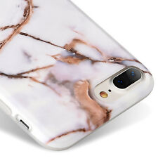 for iPhone 7+ Plus - Hard TPU Gummy Rubber Case Cover White Gold Marble Pattern