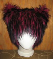 PINK BLACK CHESHIRE KITTY CAT FUR HAT ANIME COSPLAY CYBER FESTIVAL COSTUME WIG