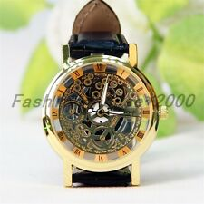 Mens Classic Transparent Steampunk Skeleton Mechanical Leather Sport Watch