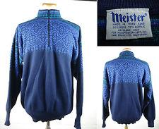 Vintage MEISTER Wool Blend Nordic Ski Sweater Snowflakes Half Zip Sz XL
