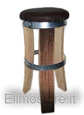 SGABELLO in legno da doghe botte 60 CM con seduta in finta pelle barriques