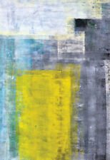 Grey, Teal And Yellow Abstract Art Painting Poster Print, 13x19