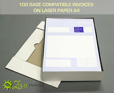 100 SAGE COMPATIBLE INVOICE ON LASER PAPER A4 210 x 297mm