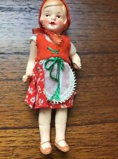"""Small Antique/Vintage Painted Bisque German Doll ~5"""" tall Dutch ? Outfit"""