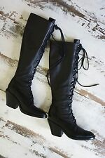 $1490 ANN DEMEULEMEESTER Women's Black Laced Knee High Soft Leather Boots Sz 40