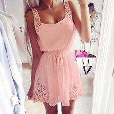 Summer Women Casual Dresses Sleeveless Cocktail Short Mini Dress Pink
