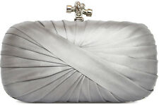 Silver Satin Knot Clasp Wedding Prom Party Evening Clutch Bag