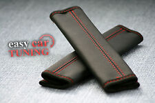 FOR VW GOLF MK5 BLACK REAL GENUINE LEATHER 2X SEAT BELT COVERS PADS RED STITCH