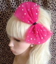 HOT PINK SPARKLE  BOW TULLE TUTU NET ALICE HAIR HEAD BAND 80s PARTY FANCY DRESS
