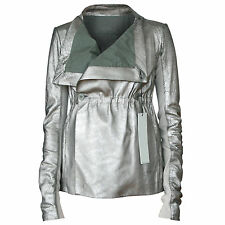 RICK OWENS $2,415 distressed dark silver cracked leather Circe jacket 40-ITL NEW