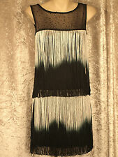 1920 Great Gatsby Style Flapper Party Dress Colour Looped Fringe Diamante Bodice