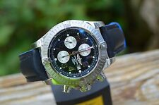 Breitling Super Avenger A13370 Black Face Arabic Numbers Blue/Black Strap