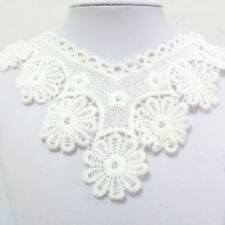 New Lace Embroidered Floral Neckline Neck Collar Trim Clothes Sewing Applique #0