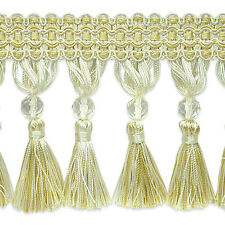 "By Yard-4"" Gold Ivory Beaded Tassel Fabric Fringe Lampshade Curtain Costume Trim"