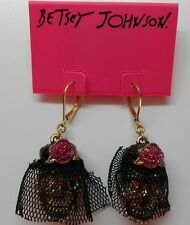 Betsey Johnson Creepshow Black Veiled Skull With Crystals Leverback Earrings