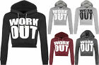 New Womens Work Out Text Print Long Sleeve Top Ladies Short Cropped Hoodie 8-14