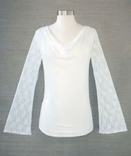 Women's Cowl Neck Lace Bell Sleeve Ivory White Blouse Shirt Large 14/16 Clothes