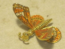 unique butterfly moth insect pin brooch metal enamel  hinged moving wings