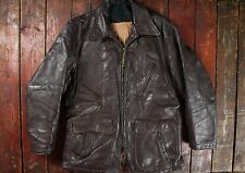 VTG 1950s HORSEHIDE LEATHER HALF BELT MOTORCYCLE SPORTS JACKET COAT USA SHORT 40