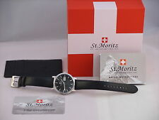 Rotary Mens ST MORITZ Gents Swiss Watch Con Nero Cinturino in Pelle gs03615 / 04