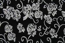 All Over Rose Cloqué Jersey Dress Fabric Material (Black/Cream)
