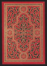 1 Single ANTIQUE Playing Card OLD WIDE SQUARE CORNER Design RED BLACK Gold Gilt