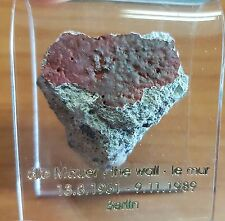 AUTHENTIC PIECE OF THE BERLIN WALL IN ACRYLIC HOLDER STAND-GREAT COLLECTORS ITEM