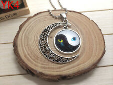 NEW Handmade YING AND YANG CAT EYE  Hollow Moon Pendant Silver Necklace#YK4