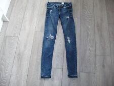 H&M Low Waist Distressed Ripped Blue Raw Hem Skinny Jeans W27 L32