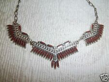 Gorgeous Zuni Sterling Silver JS Bellson Needlepoint Red Coral Necklace