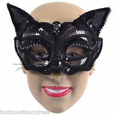 Halloween Black Sequin Cat Mask Masked Ball Masquerade Fancy Dress EM710