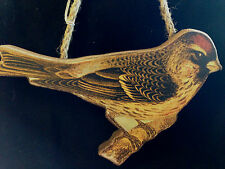New Park Hill Wooden Bird on Rope Hanger - Brown Bird with Red Head