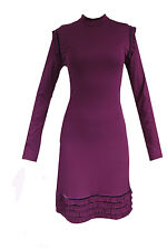 Damenkleid Langarm Kleid Minikleid Etuikleid Cocktail Dress Fuchsia Lila S M