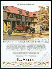 1928 Cadillac LaSalle cabriolet convertible car autumn leaves vintage print ad