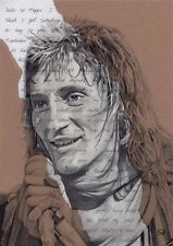Rod Stewart Portrait - signed Giclée art print with Maggie May Lyrics Background