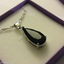 "P154 Large Black Onyx Pendant & 18"" Chain, 18k White Gold Filled, BOXED Plum UK"