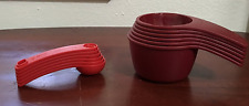 Tupperware Measure Measuring Cups & Spoons Set 2016 Design Burgundy & Red New