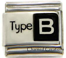 Type B Blood Medical Alert 9mm Italian Charm Modular Link For Starter Bracelets